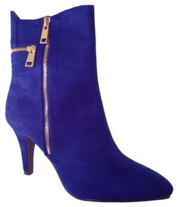 Bellini Faux Suede Vibrant Chic Pointed Toe Date Night Cobalt Boots