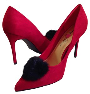 Penny Loves Kenny #pompom #pointed #stiletto #fur #suede Red Pumps