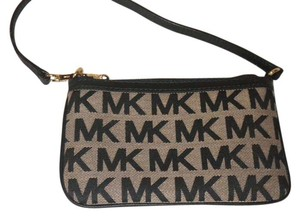 Michael Kors Micheal Jacquard Wristlet in Beige and Black