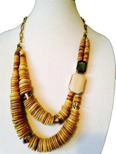 Item - Lime Green & Light Wood Wooden Disks Faceted Forest Ivory Necklace