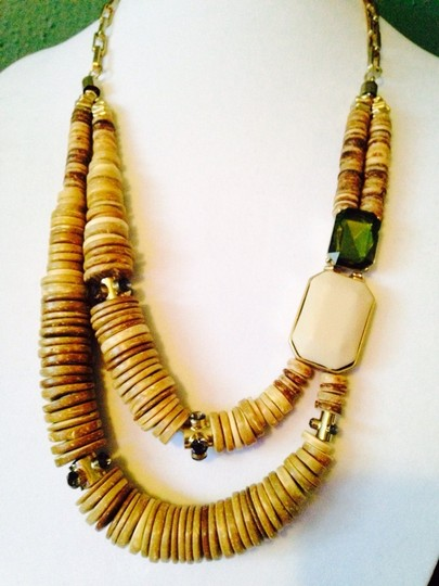 Kenneth Cole Wooden Disks & Faceted Forest Green & Ivory Necklace
