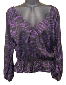 Michael Kors Luxe Smocked Abstract Petite Top Black & Purple