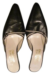 Salvatore Ferragamo Leather Black with Cream Mules