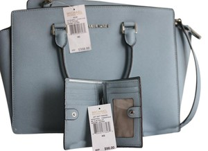 Michael Kors Cowhide Leather Set Wallet Satchel in Powder Blue