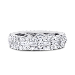 Other 1.67 CT Natural Diamond Round & Baguette Eternity Band in Solid 18k