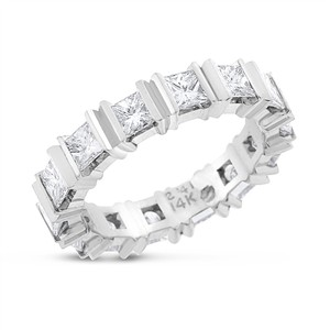 2.41 CT Natural Princess Cut Diamond Eternity Band in Solid 14k White