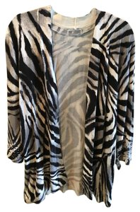 JM Collection Animal Print Zebra Cardigan