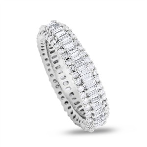 Other 2.24 CT Natural Round & Tapered Baguette Diamond Eternity Band