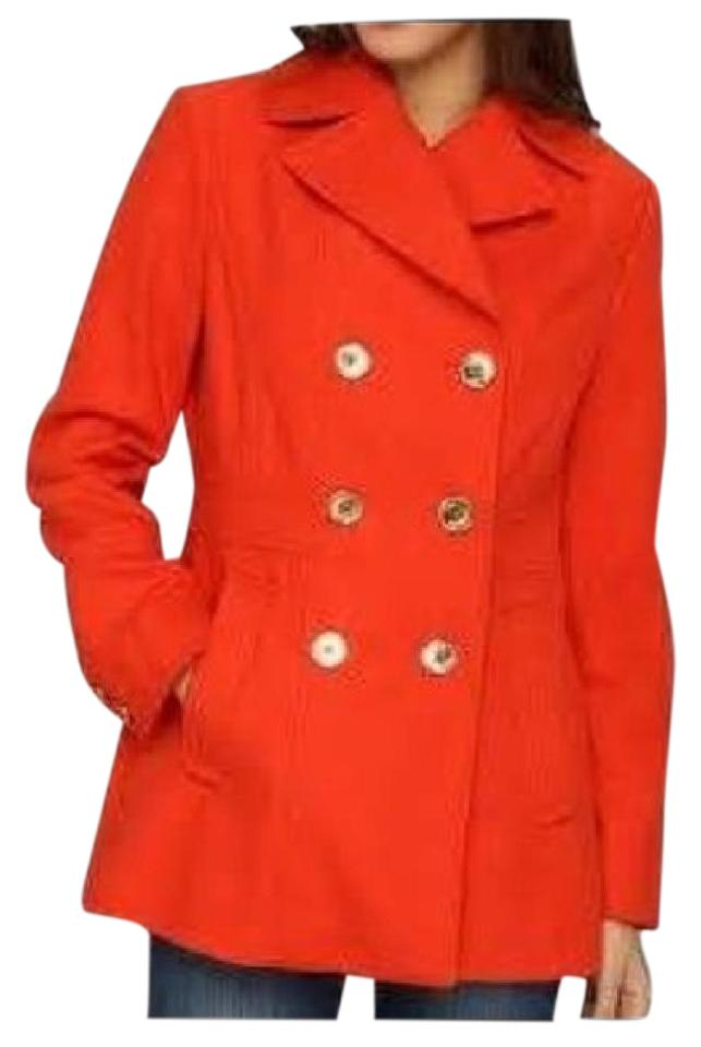 Michael Kors Kors Orange Double Breasted Jacket Wool Pea Pea Coat ...