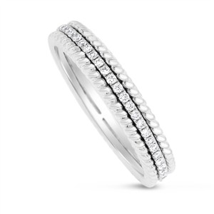 Other 0.27 CT Natural Round Diamond Milgrain Eternity Band in Solid 18k