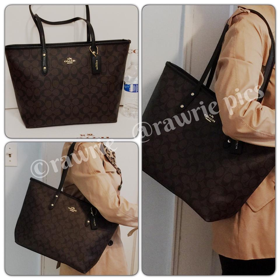 ... coupon for coach city signature brown zip and matching checkbook wallet  set black leather tote tradesy 3f4d93fffa