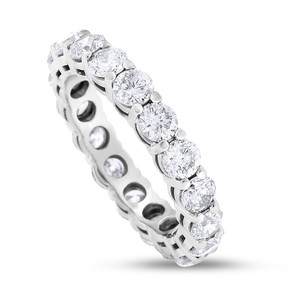 3.43 CT Natural Round Diamond Eternity Band in Solid 18k White Gold