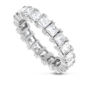 3.50 CT Natural Princess Cut Diamond Eternity Band in Solid Platinum