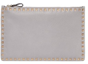 Valentino Rockstud Pouch Leather grey Clutch
