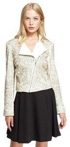 Alice + Olivia Beaded Studded Leather White Leather Jacket