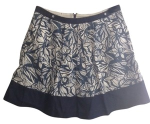 Nick & Mo Anthropologie & Linen Skirt Navy/White