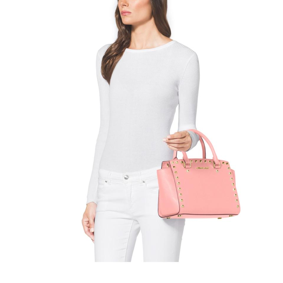 f8b8dd435bc9 Michael Kors Studded Selma Mk Satchel in Pale Pink CROSSBODY Gold Hardware  Image 3. 1234