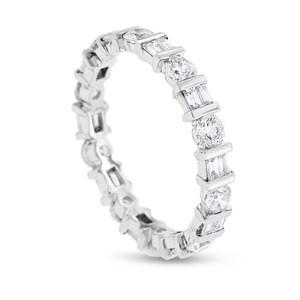 Other 1.54 CT Alternating Natural Round & Baguette Diamond Eternity Band