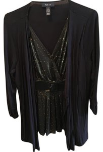 Style & Co Sequins Belted One-piece Cardigan Top Black