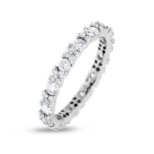 Other 1.30 CT Natural Round Diamond Eternity Band in Solid 18k White Gold