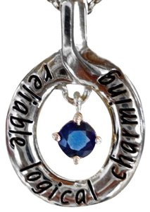 Red Envelope BLUE SAPPHIRE STERLING SILVER BIRTHSTONE PENDANT NECKLACE 16