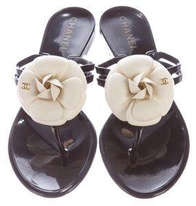 Chanel Jelly Camellia Black, White Sandals