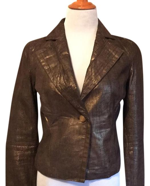 Preload https://img-static.tradesy.com/item/20330709/new-frontier-bronzegold-tint-leather-blazer-size-6-s-0-1-650-650.jpg