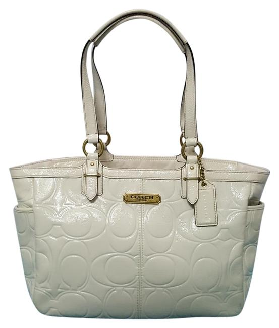 Item - Signature Gallery Embossed Style F19462 Ivory Patent Leather Tote