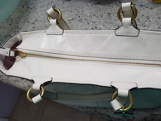 Coach Signature Patent Leather Tote in Ivory