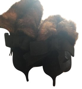 Kate Spade Black suede with brown fur trim Boots