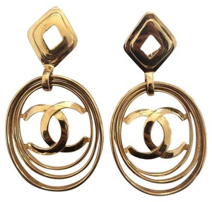 Chanel Vintage CHANEL Huge Massive Rare CC Logo Hoop Clip On Dangle Earrings