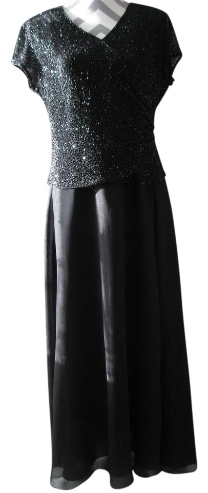 Chadwicks Black Sparkly A00 Long Formal Dress Size Petite 10 M