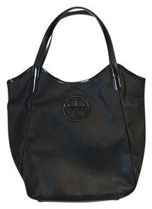 Tory Burch Stacked Logo Tote in Black