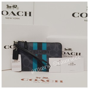 Coach Gift Box Small Zip Monogram Cute Wristlet in Blue