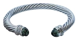 David Yurman 7mm Cable Classic Crossover Bracelet with Prasiolite and Diamonds