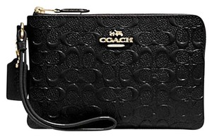 Coach Gift Box Leather Patent Leather Embossed Monogram Wristlet in Black