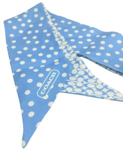 Coach COACH Signature C Polka Dot Silk Ponytail Scarf Blue