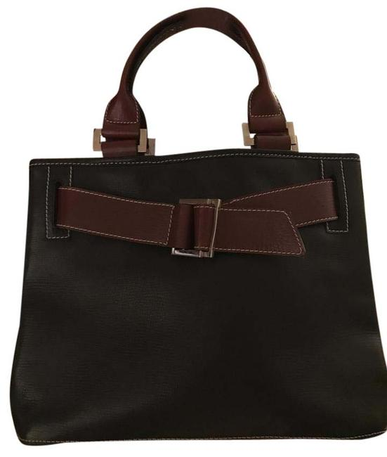 Argentine Black and Brown Leather Satchel Argentine Black and Brown Leather Satchel Image 1