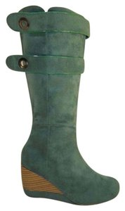 Rue 21 Wedge Mid Calf Hunter Suede Tradesy Green Boots
