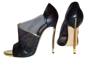 Casadei Blade High Stiletto Black Mesh Peep Toe Gold Black Black gold Pumps