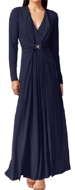 Preload https://img-static.tradesy.com/item/20331242/calvin-klein-navy-new-womens-ruched-evening-long-night-out-dress-size-8-m-0-1-650-650.jpg