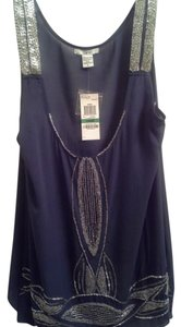 Bar III Embellished Beaded Top Blue