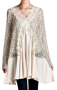 Southern Girl Fashion Crepe Eyelet Lace Floral Swing Embroidered Eyelet Mini Dress L/s Tunic