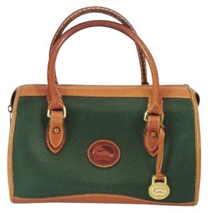 Dooney & Bourke No Strap Satchel in Green and Brown Leather