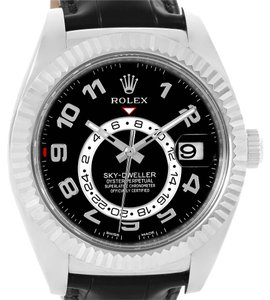 Rolex Rolex Sky-Dweller 18K White Gold Black Dial Watch 326139 Box Papers