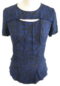 Isabel Marant Silk Seamed Keyhole Top BALCK + BLUE