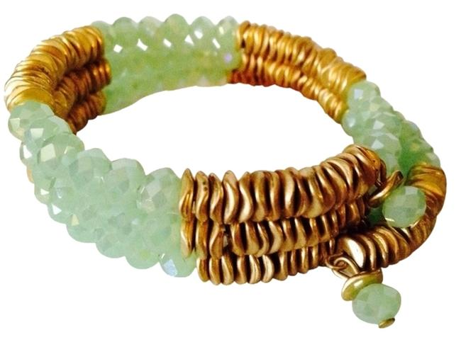 Item - Gold/Lime Green Wood & Disc & Faceted Bead Wrap Bracelet