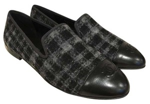 Chanel Tweed Lambskin Leather Loafer black Flats