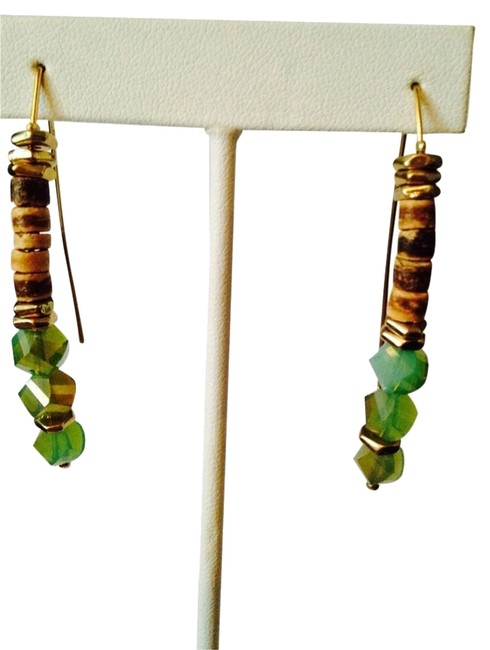 Item - Light Wood & Lime Green Disc Faceted Bead Wire Earrings