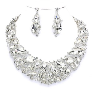 Exquisite Elegant Bejeweled Marquise Rhinestone Crystal Necklace and Earring Set